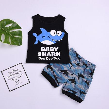 Toddler Kids Clothing Baby Boys Cute Sleeveless Shark Vest Tank Top+Short Pants Trousers 2Pcs Outfits Clothes (Shrek Vest)