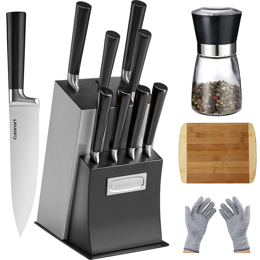 Cuisinart 11-Piece Vetrano Collection Cutlery Knife Block Set Black (C77SSB-11P) with Deco Gear Spice Mill, Home Basics Two Tone Bamboo Cutting Board & Deco Gear Safety Kitchen Cut Resistant Gloves