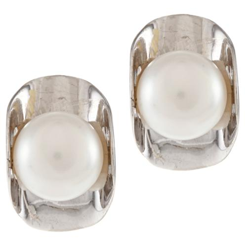 Kabella Jewelry Kabella Sterling Silver Button Freshwater Pearl Wrap Stud Earrings (8-9mm)