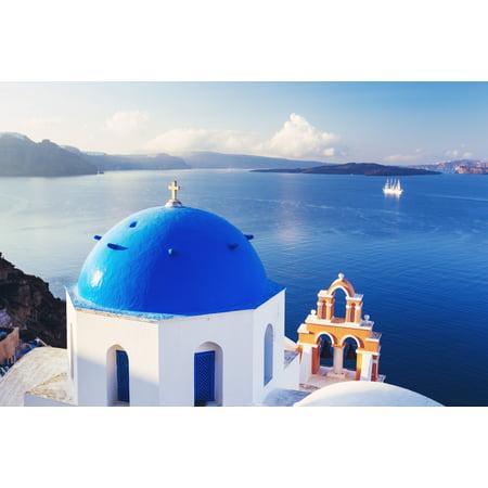 Church Bell Tower Above Blue Sea Santorini Island Greece Posterprint