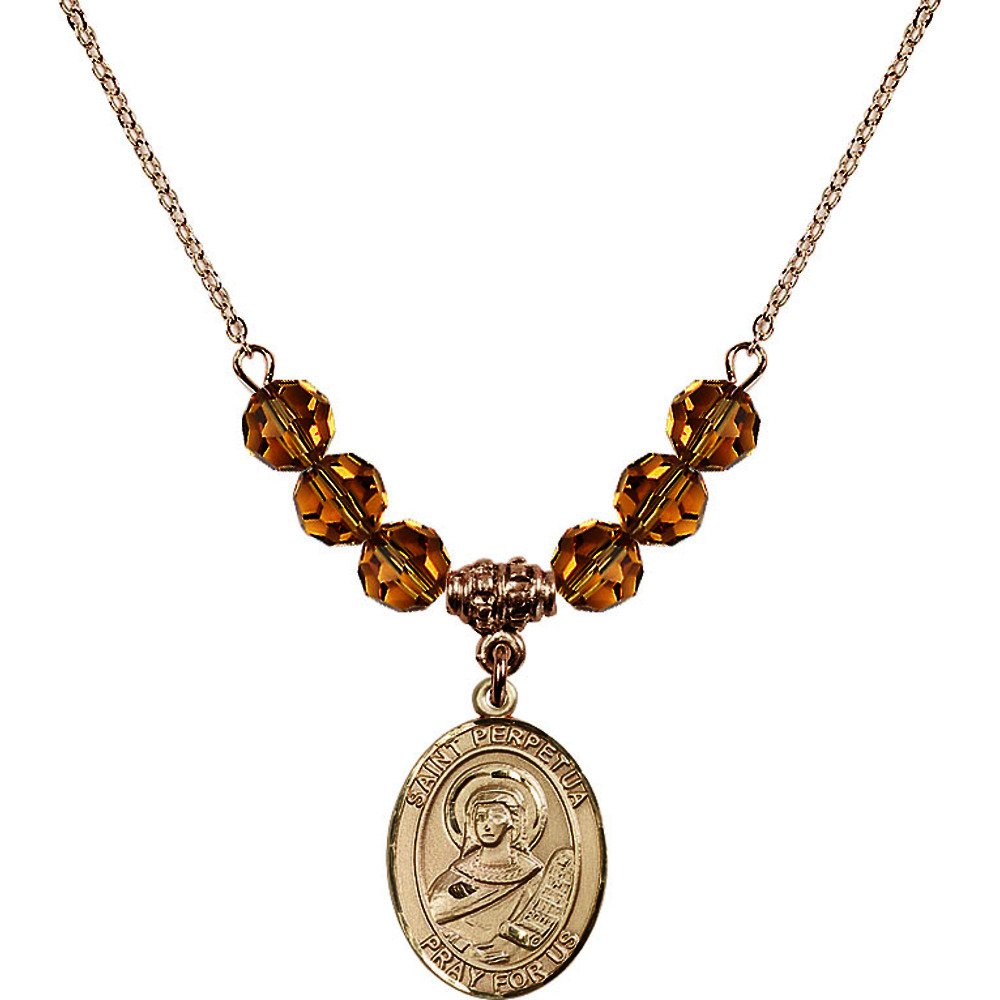 18-Inch Hamilton Gold Plated Necklace with 6mm Yellow November Birth Month Stone Beads and Saint Perpetua Charm by