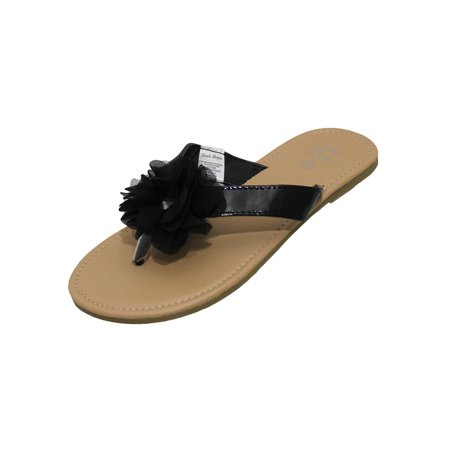 Stepping Stones Girls Black Flip Flop Thong Sandals with Chiffon Ruffle Flower Hardsole Sandals-Size 1