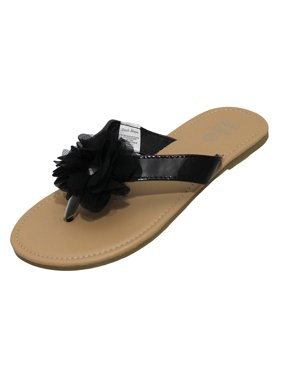 5d21e4c01929 Product Image Stepping Stones Girls Black Flip Flop Thong Sandals with  Chiffon Ruffle Flower Hardsole Sandals-Size
