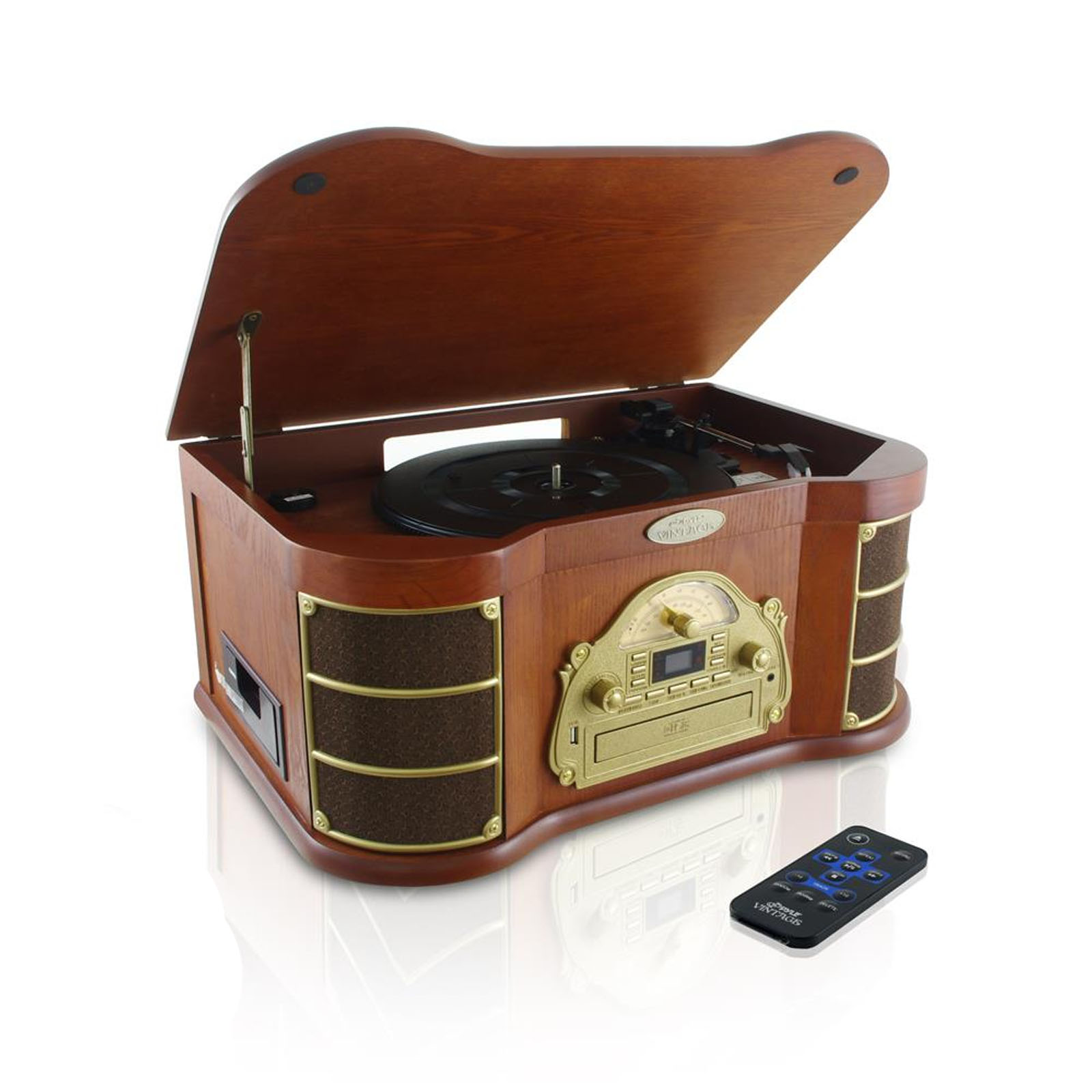 Pyle BT Vintage Style Turntable with AM/FM Radio, CD & Cassette Players, USB Flash Recording & Slide-Out /MP3 Dock