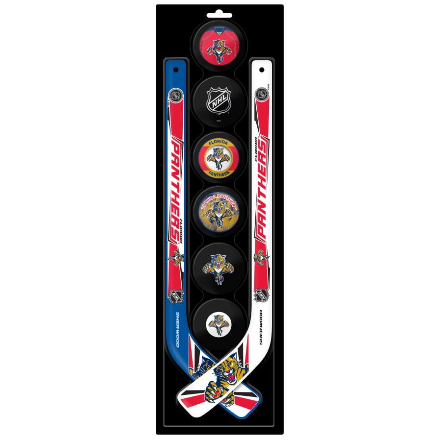 Florida Panthers Sher-Wood 6-Pack Pucks and 2 Mini Player Hockey Sticks Set No Size by Sher-Wood Hockey