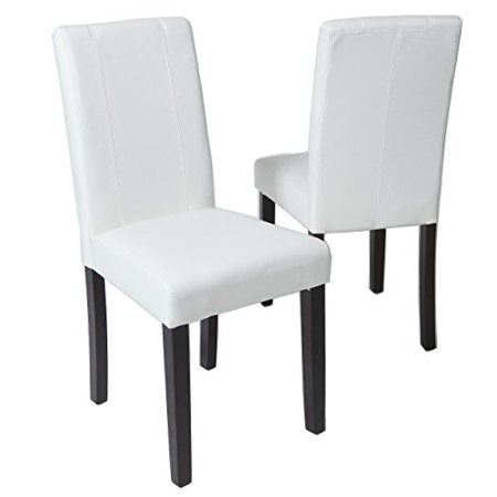 Roundhill Furniture Urban Style Solid Wood Leatherette Padded Parson Chair, White, Set of 2 - image 2 of 4