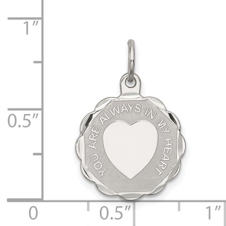 925 Sterling Silver Your Always In My Heart Disc Pendant Charm Necklace Love Fine Jewelry For Women Gifts For Her - image 2 of 6