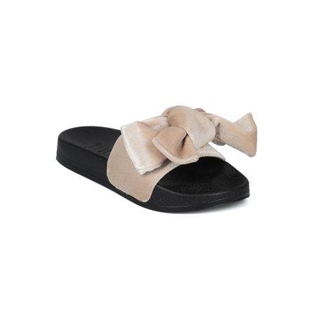 Women velvet Open Toe Bow Tie Footbed Sandal Slide 18158 ()