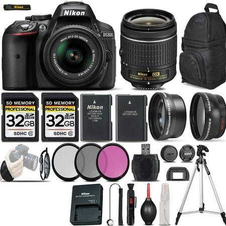 Nikon D5300 Digital SLR Camera 3 Lens 18-55mm VR + 64GB -Bundle Kit (Nikon Camera Slr D5300)