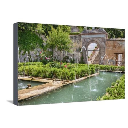 Metal Granada Wall - The Generalife gardens, Alhambra grounds, Granada, Spain. Stretched Canvas Print Wall Art By Julie Eggers