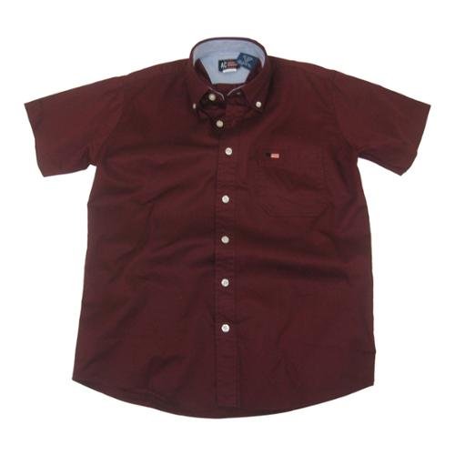 Boys Burgundy Short Sleeve Button Down Twill Cotton Shirt 8-18 ...