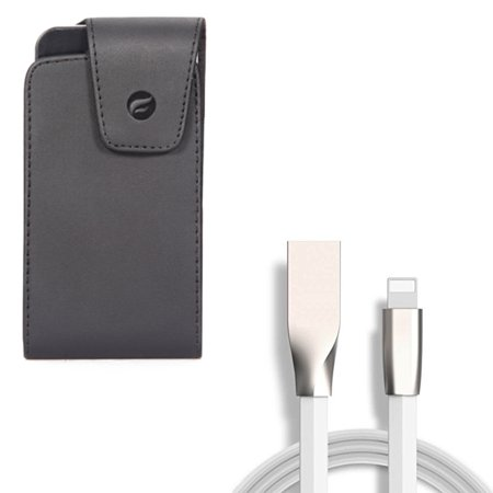 Leather Case Belt Clip w Flat USB Cable Charger Power 6ft Cord for iPhone XS Max XR 8 PLUS 7 Plus 6S Plus 6 Plus