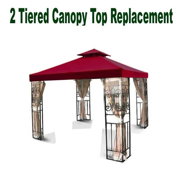 12'x12' 2-Tiered Replacement Garden Gazebo Canopy Top Burguny Shade Two Tiered