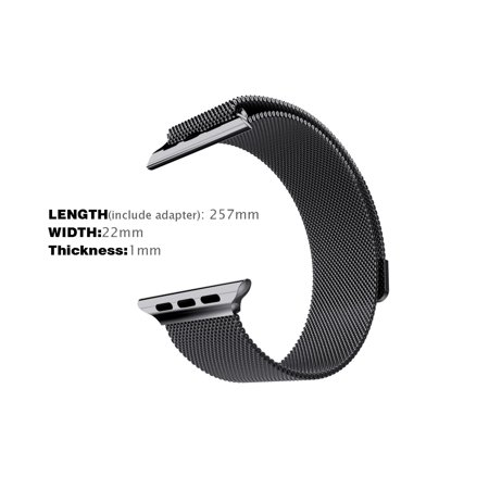 Apple Watch Band Wristband  42Mm Milanese Loop Wristband By Photive  Stainless Steel Bracelet Style Strap For Apple Watch  Replacement Apple Watch Band With Adjustable Magnetic Clasp   Black