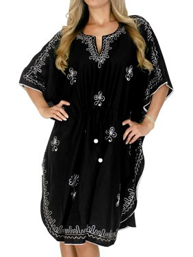 Womens Embroidered Plus Size Mini Rayon Kaftan Dress Free Size Solid Plain Gown Casual Ladies Caftan