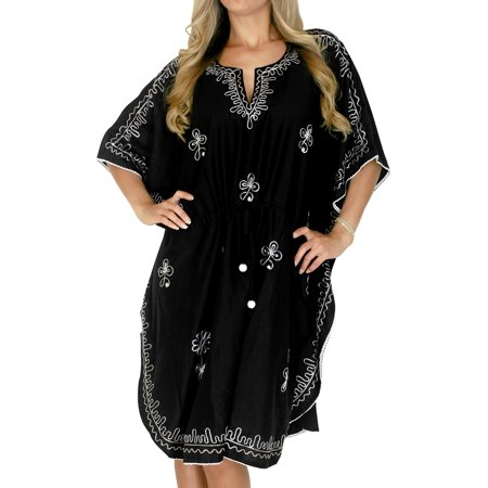 35addb5315b46 LA LEELA - Embroidered Rayon Women Beachwear Bikini Swimwear Cover ups  Casual Short caftan - Walmart.com