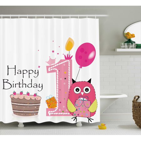 1st Birthday Decorations Shower Curtain First Cake Candle Sketchy Cartoon Owl Image Fabric