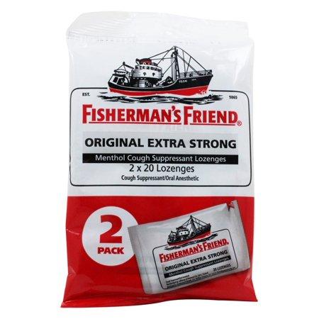 Fisherman's Friend - Menthol Cough Suppressant Lozenges Original Extra Strong 2 Pack - 40 Lozenges Flu Lozenges Vitamins