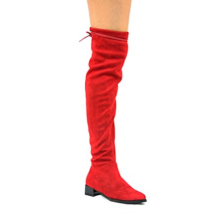 Cape Robbin Sasa-1 Over The Knee Flat Stretch Suede Slim Fitting Boots (8.5, Red) (Red, 6 B(M) US) Red Leather Boots