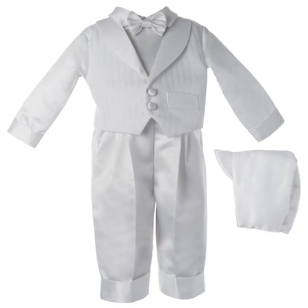 Christening Baptism Newborn Baby Boy Special Occasion Satin Long Pants With Striped Shawl Collar