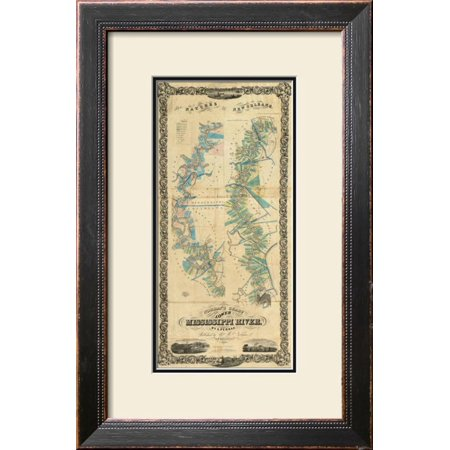 Chart of The Lower Mississippi River, c.1858 Framed Giclee Print Wall Art  - 16x24