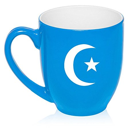 Islamic Glass - 16 oz Large Bistro Mug Ceramic Coffee Tea Glass Cup Islamic Moon And Star (Light Blue)
