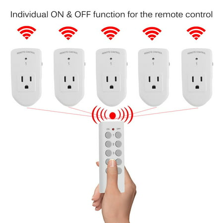 Wireless Remote Control Power Outlet Switch Plug Socket For Lights LED Bulb