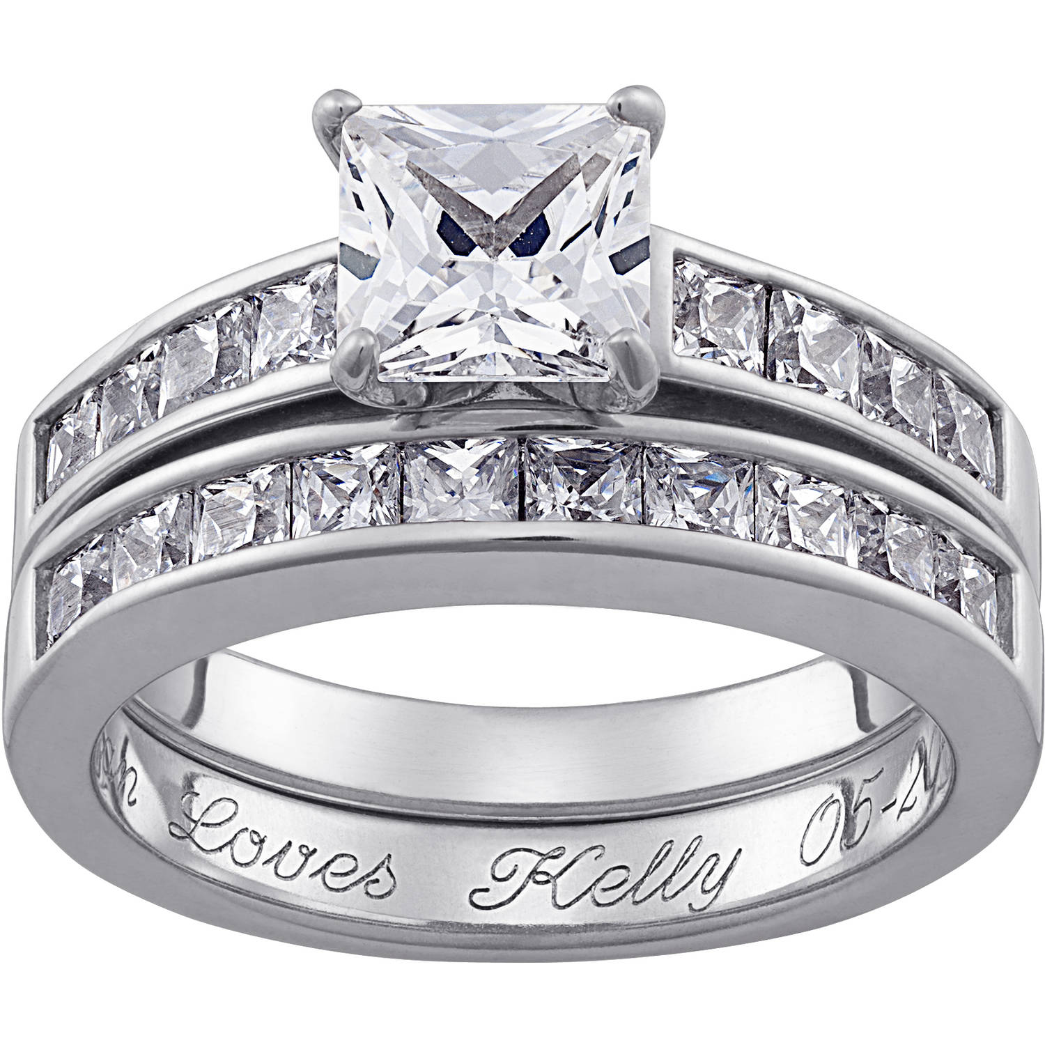 Personalized Square CZ Two Piece Engraved Wedding Ring Set in