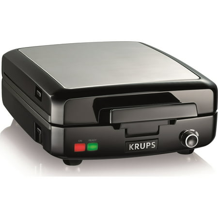 KRUPS Stainless Steel 4 Slice Belgian Waffle Maker with Removable