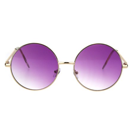 Round Circle Lens Hippie Metal Rim Gradient Sunglasses Gold Purple