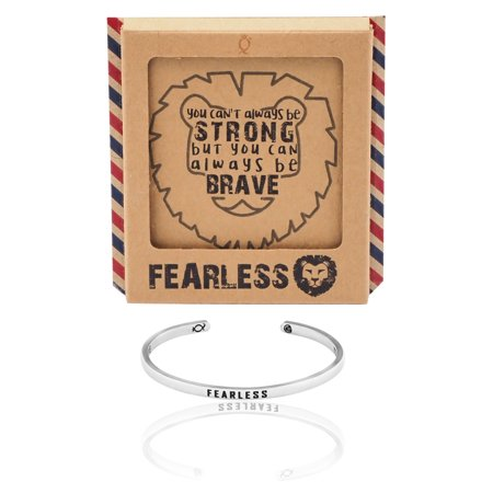Fearless Affirmation Bracelet (Quan Jewelry Fearless Lion Cuff Bracelet, Silver Tone, with Inspirational Quote Greeting)