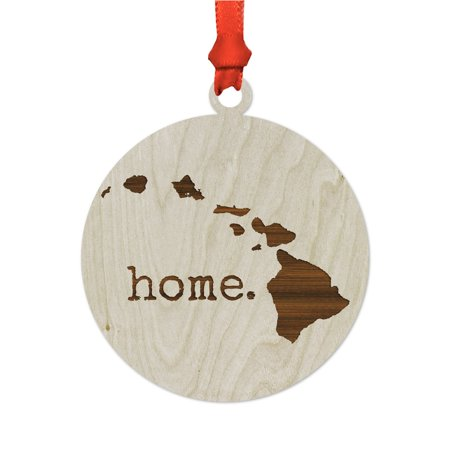 Laser Engraved Wood US State Christmas Ornament, home ...