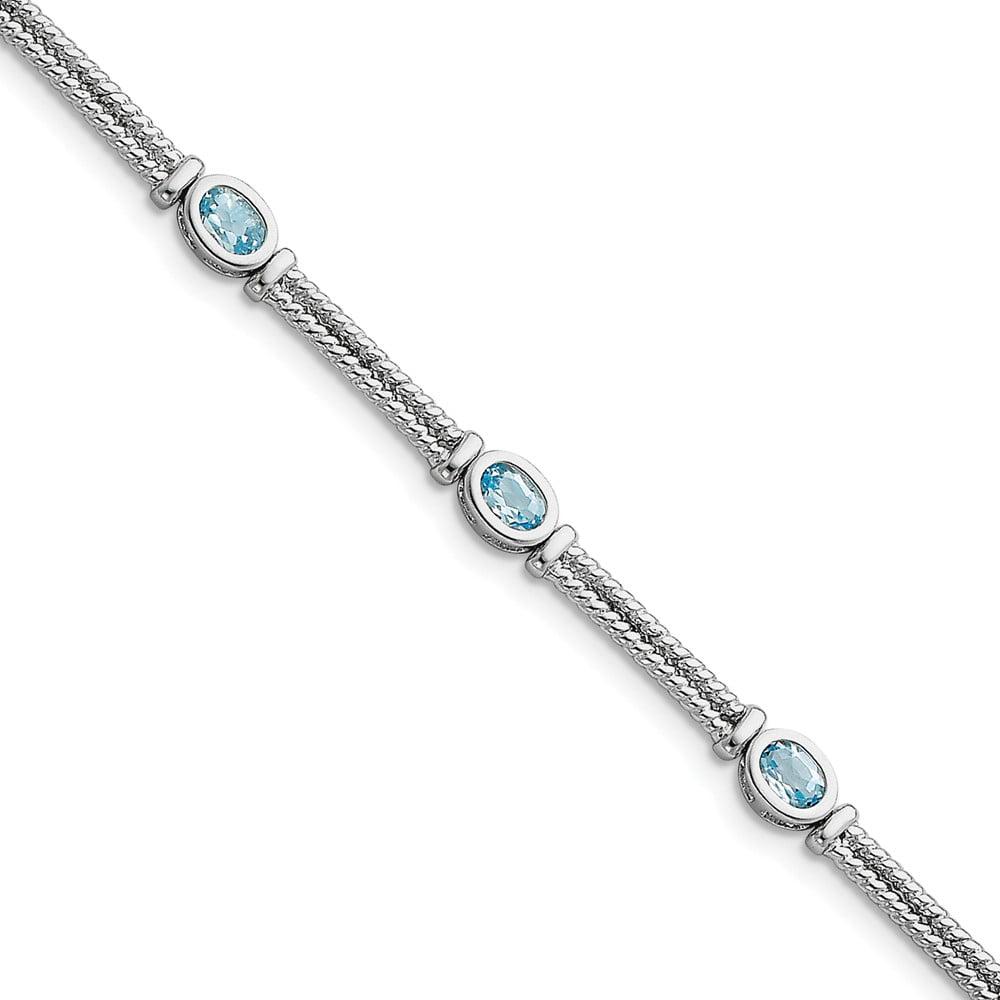 925 Sterling Silver Blue Topaz Bracelet 7 Inch Gemstone Fine Jewelry For Women Gift Set by IceCarats Designer Jewelry Gift USA