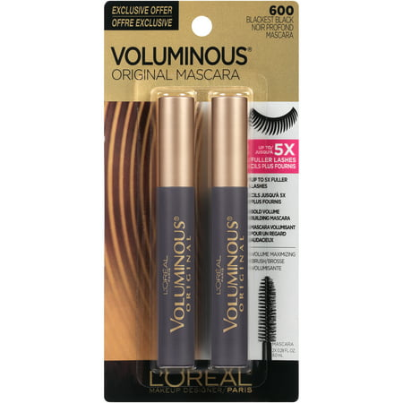L'Oreal Paris Voluminous Original Mascara, Blackest Black, Pack of