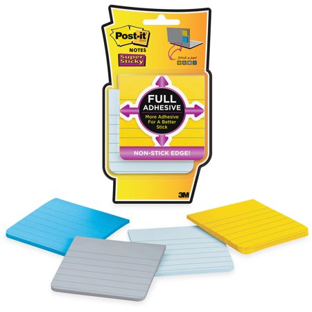 Post-it Super Sticky Full Adhesive Notes 4 Pack, Ruled, 3in. x 3in., New York Color - Adhesive Note Dispenser
