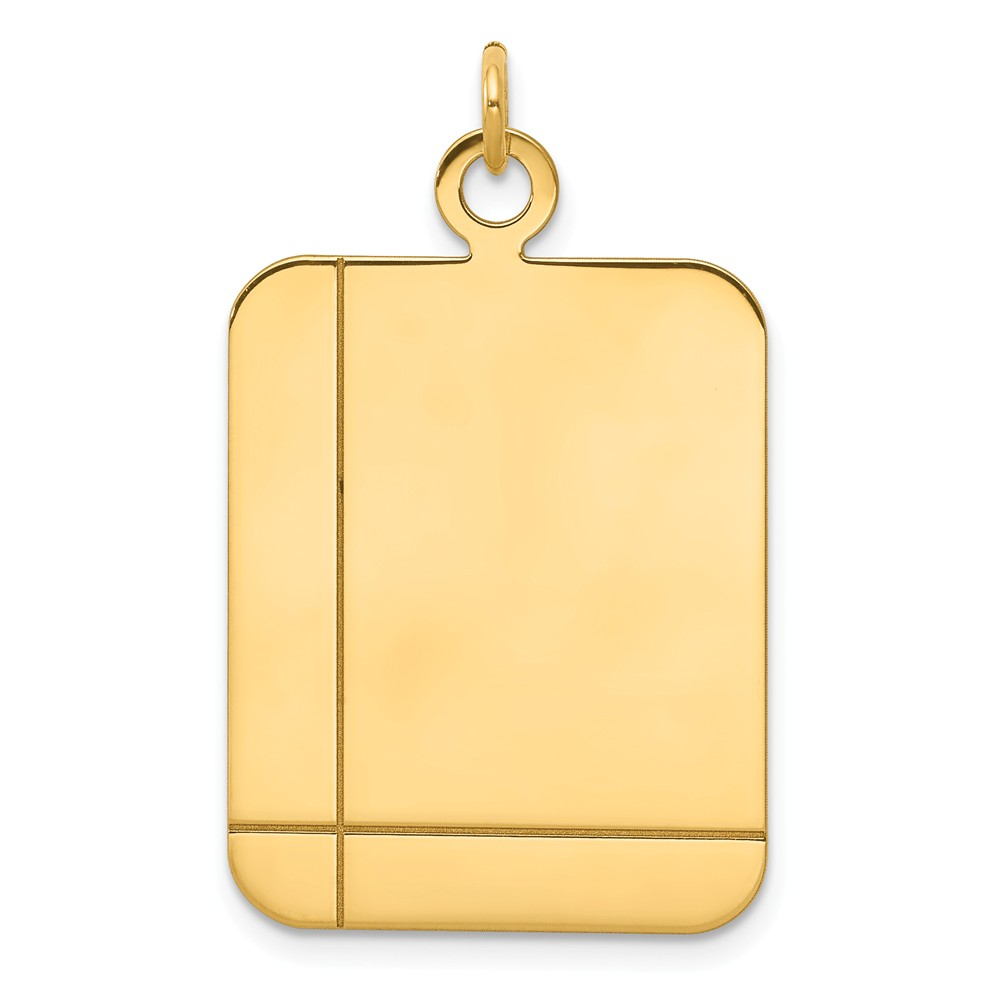 14k Yellow Gold Plain Rectangular 0.035 Gauge Engravable Disc Charm (1.3in long x 0.8in wide)
