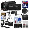 """Panasonic HC-V770 Wireless Smartphone Twin Wi-Fi HD Video Camera Camcorder + 64GB Card + Case + LED Light + Microphone + Tripod + Tele/Wide Lens Kit """" Kit Includes 12 Items with all Mfr-supplied Acc + Full USA Warranties 1) Panasonic HC-V770 Wireless Smartphone Twin Recording Wi-Fi HD Video Camera Camcorder 2) Transcend 64GB SecureDigital SDXC 300x UHS-I Class 10 Memory Card 3) Precision Design PD-C25 Camera / Camcorder Case with Rain Cover 4) Vidpro Mini Condenser Microphone for DSLRs, Camcorders + Video Cameras 5) Precision Design Digital Camera / Camcorder LED Video Light with Bracket 6) Precision Design 50 in PD-50PVTR Compact Travel Tripod 7) Precision Design 2.5x Telephoto + .45x Wide-Angle Digital Lenses (49mm/52mm/55mm/58mm) 8) Vivitar 3-Piece Multi-Coated HD Filter Set (49mm UV/CPL/ND8) 9) PD SD/SDHC MicroSD Reader 10) PD 5pc Complete Cleaning Kit 11) PD 8 SD Card Memory Card Case 12) LCD Screen Protectors The Panasonic HC-V770 Wireless Smartphone Twin Recording Wi-Fi HD Video Camera Camcorder lets you catch the scenes you want with easy zooming and excellent quality. Use the worlds first HDR (High Dynamic Range) Movie technology to get clear shots even with backlighting. And take sub camera shots with a smartphone. The BSI sensor, which features 6.0MP pixels, and the high-speed Crystal Engine, capture crisp, clear pictures. HYBRID O.I.S. + uses five-axis correction to thoroughly suppress blurring all the way from wide-angle to powerful zoom shots. The wind shield zoom microphone capture clear audio. iA (intelligent Auto) senses the shooting conditions and automatically makes the settings and activates functions that deliver optimal results. By pushing or rotation the manual dial, you can easily adjust allocated function, like focusing and changing the iris. The Wi-Fi function enables easy connection, remote shooting, and sharing with smartphones. Key Features: Wireless Twin Camera: Using your smartphone with Wi-Fi operation as a sub camera, you can shoot f"""