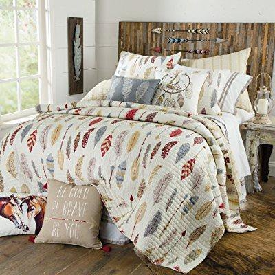 be bold, be brave, colorful southwest feather and arrow quilt, king