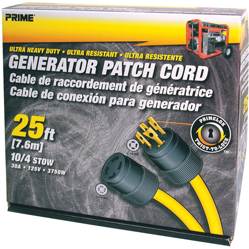 Prime Generator Patch Cord, 25 ft 30 Amp 4 Prong Twist-to-Lock