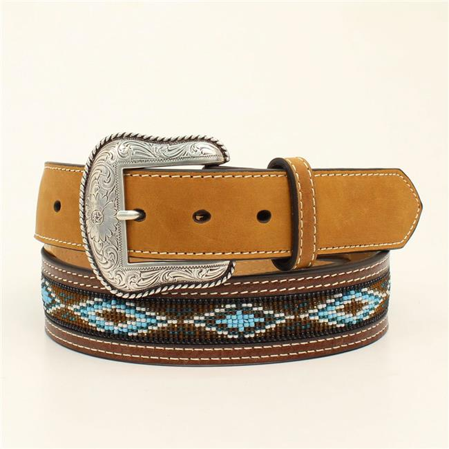 Nocona Western Mens Belt Leather Beaded Southwest Brown N2413644