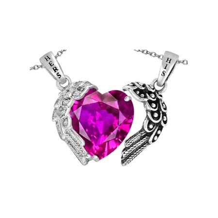 Star K His and Hers winged Love Couple 2pcs Pendant Necklace set with Heart Shape 11mm Simulated Pink Sapphire