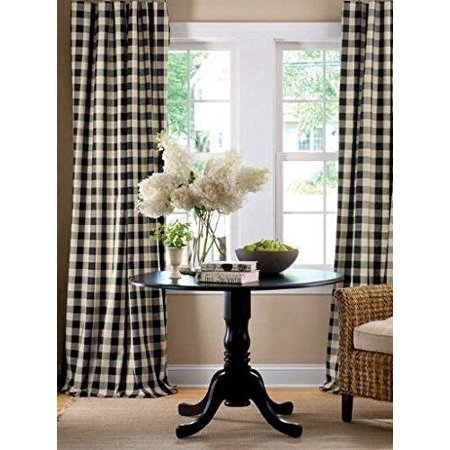 Poplin Gingham Checkered Window Curtain 56 Inch Wide Black and White ()