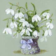 """Snowdrops Counted Cross Stitch Kit, 8"""" x 8"""", 14-Count"""