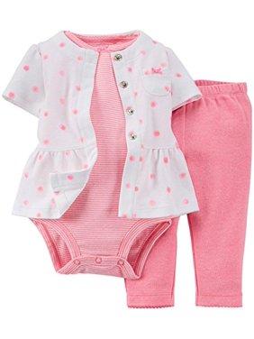 Carter's Baby Girls' 3 Piece Cardigan Pant Set - Pink Dots