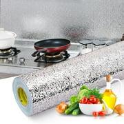 40X100CM Kitchen Aluminum Foil Self-adhesive Wallpaper Wall Sticker Waterproof Oil-proof DIY Home Floor Desk Furniture Decal