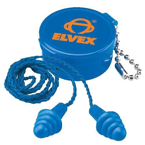 Elvex EP-412 Reusable Corded Ear Plug with Container, 1 Pair