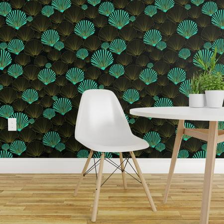 Peel and Stick Removable Wallpaper Aqua Nautical Ocean Teal Black Sea