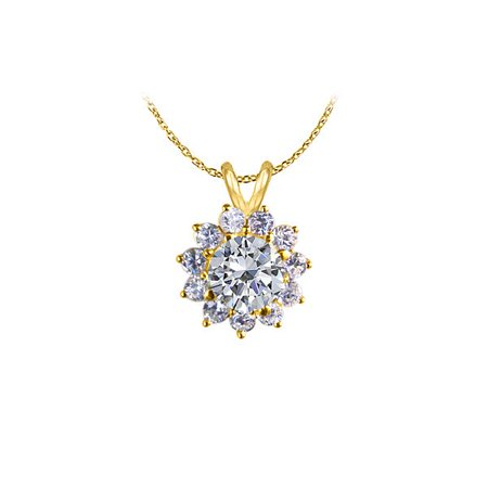 Lovebrightjewelry Beautiful Cubic Zirconia Flower Pendant In Yellow Gold Vermeil Trendy Fashion Design Cool Price