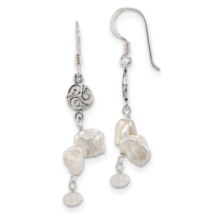925 Sterling Silver Freshwater Cultured Keshi Pearl Moonstone Shep. Hook Drop Dangle Chandelier Earrings Gifts For Women For