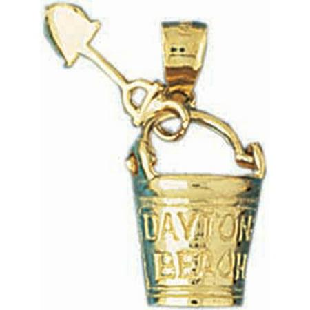 14K Yellow Gold Daytona Beach Pail And Shovel Pendant - 24 mm